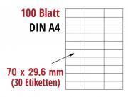 Klebe etiketten  70x29,6mm (100 Bogen)